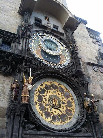 This is the original image of a famous clock in Prague.